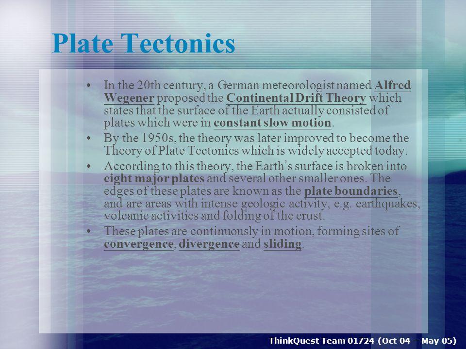 ThinkQuest Team 01724 (Oct 04 – May 05) Indian Ocean Earthquake Statistics Date : 26 December 2004 Origin Time : 00:58 53 s UTC Latitude/Longitude : 3.267° North / 95.821° East Depth : 10 km Magnitude : 9.0 Locality : 255 km SSE of Banda Aceh, Northern Sumatra