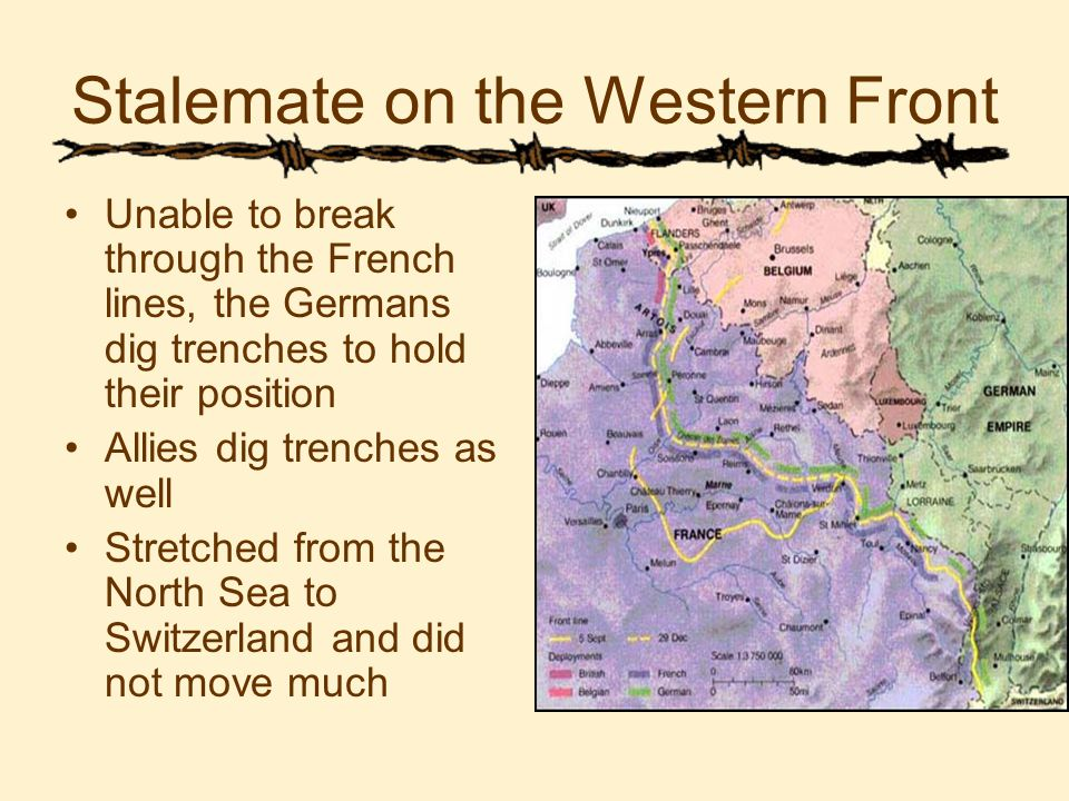Stalemate on the Western Front Unable to break through the French lines, the Germans dig trenches to hold their position Allies dig trenches as well Stretched from the North Sea to Switzerland and did not move much