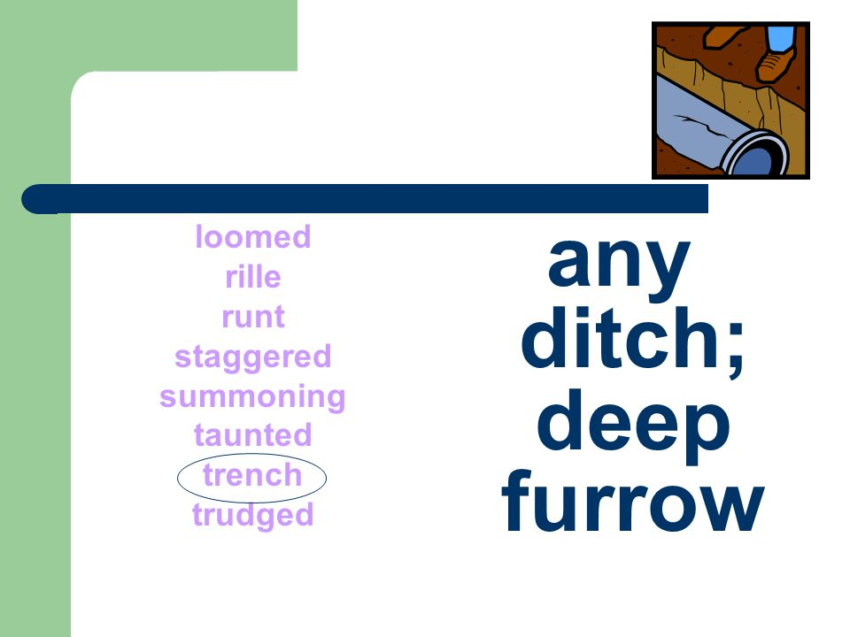 loomed rille runt staggered summoning taunted trench trudged any ditch; deep furrow