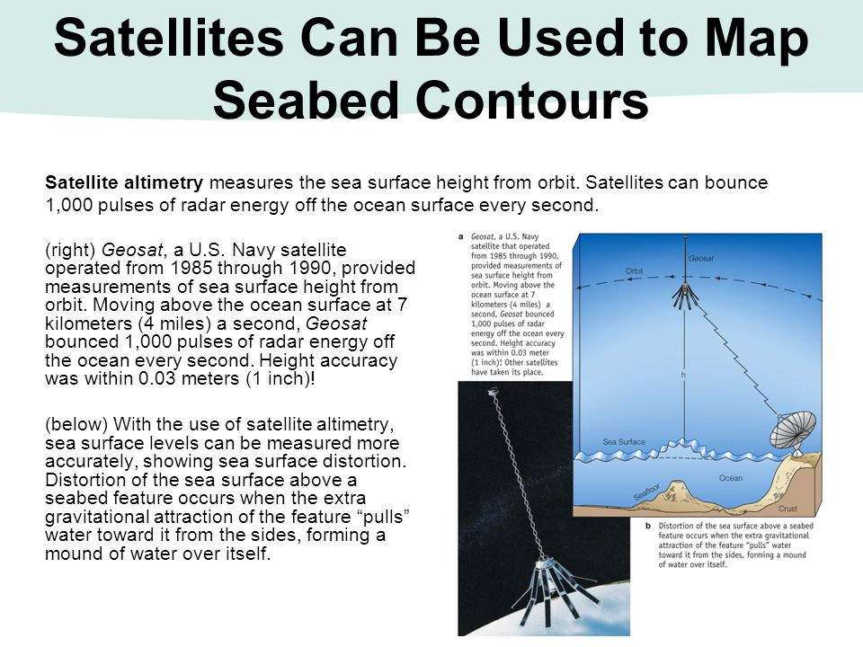 Satellites Can Be Used to Map Seabed Contours Satellite altimetry measures the sea surface height from orbit. Satellites can bounce 1,000 pulses of ra