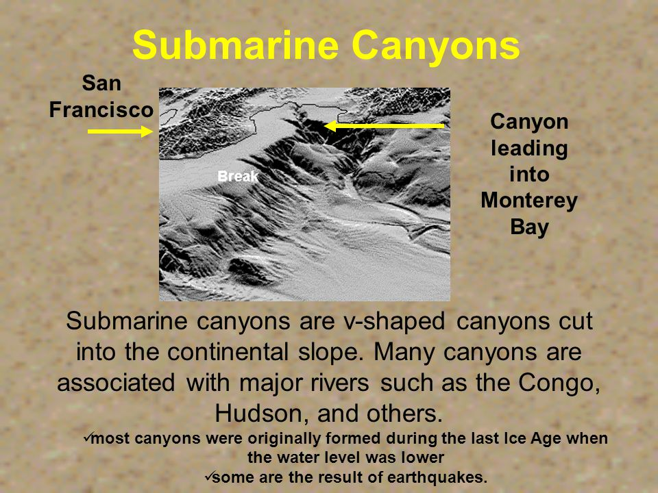 Submarine Canyon HUDSON CANYON CONTINENTAL SLOPE CONTINENTAL SHELF HUDSON CANYON - First discovered in 1864