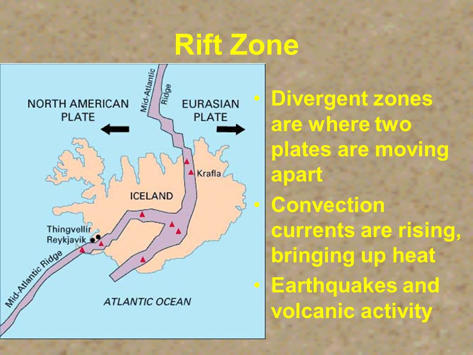 Rift Zone A system of cracks in Earth's crust through which molten material rises.