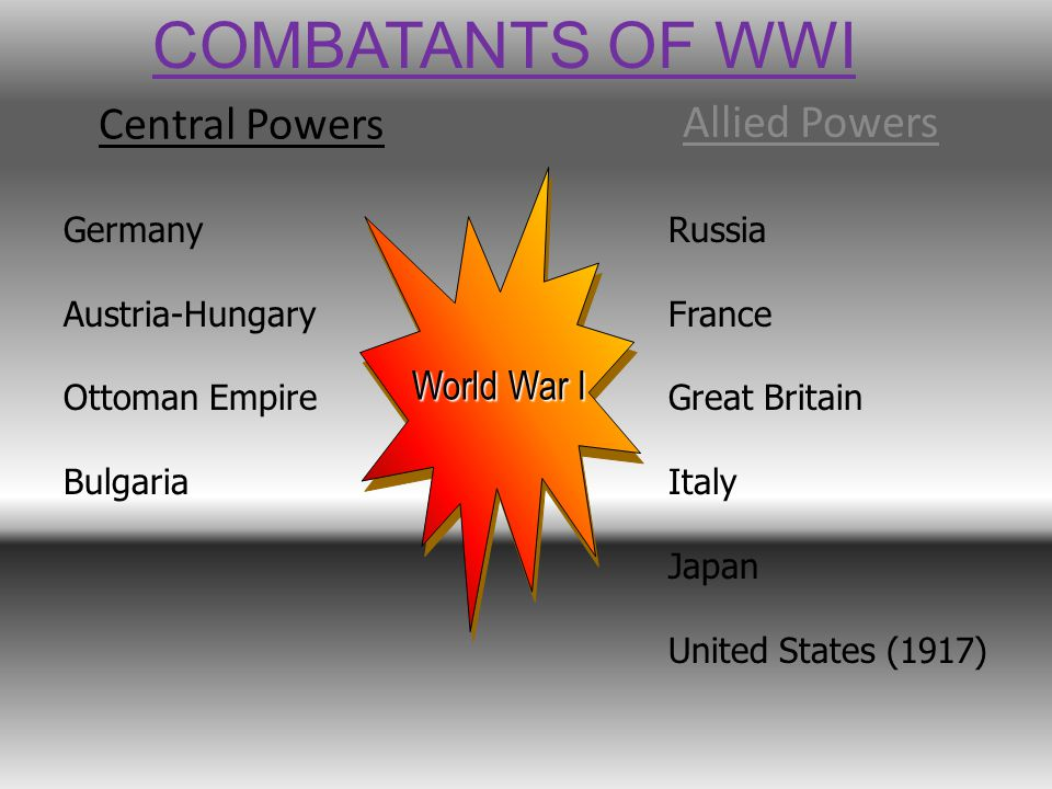 Central Powers Allied Powers World War I Germany Austria-Hungary Ottoman Empire Bulgaria Russia France Great Britain Italy Japan United States (1917) COMBATANTS OF WWI