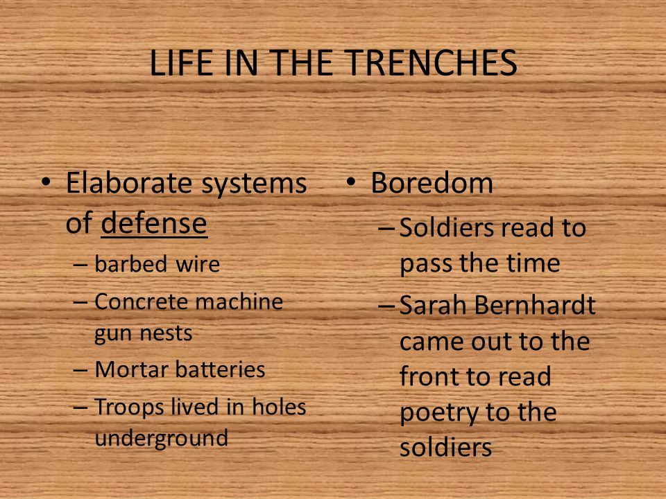 LIFE IN THE TRENCHES Elaborate systems of defense – barbed wire – Concrete machine gun nests – Mortar batteries – Troops lived in holes underground Boredom – Soldiers read to pass the time – Sarah Bernhardt came out to the front to read poetry to the soldiers