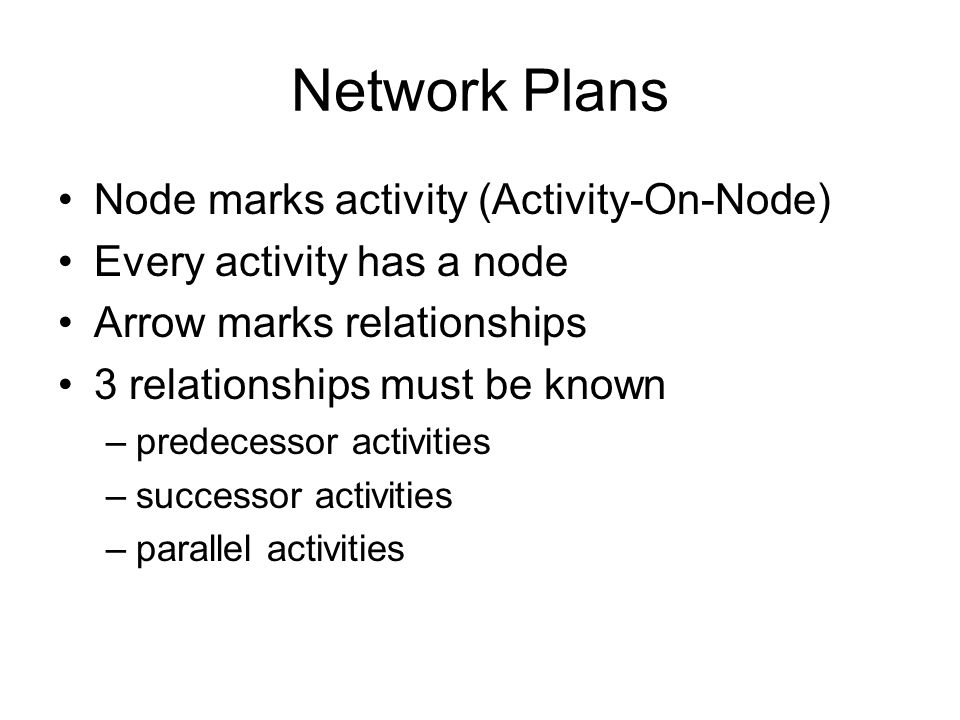 Network Plans Node marks activity (Activity-On-Node) Every activity has a node Arrow marks relationships 3 relationships must be known –predecessor activities –successor activities –parallel activities