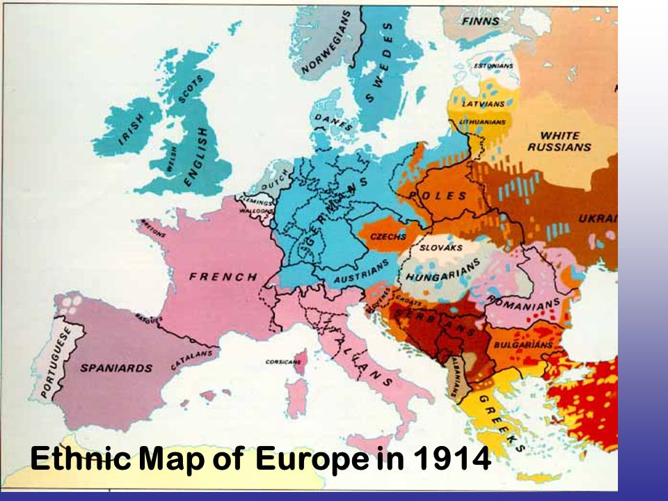 Nationalism Ethnic Map of Europe in 1914