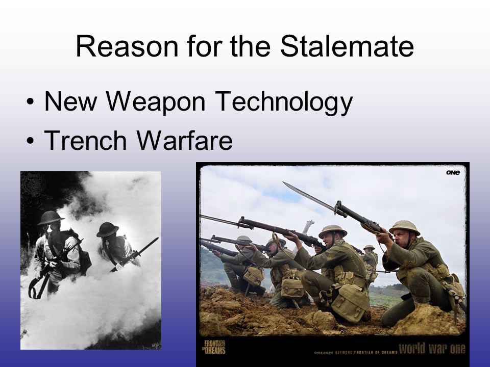 Reason for the Stalemate New Weapon Technology Trench Warfare