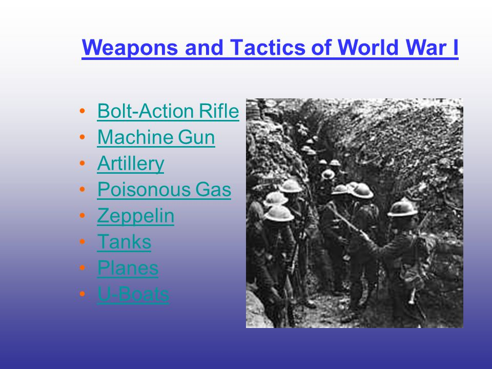 Weapons and Tactics of World War I Bolt-Action Rifle Machine Gun Artillery Poisonous Gas Zeppelin Tanks Planes U-Boats