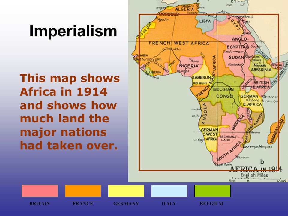 This map shows Africa in 1914 and shows how much land the major nations had taken over.