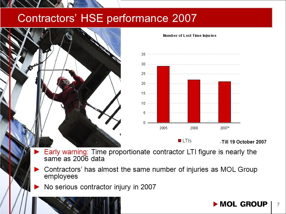 Contractors' HSE performance 2007 7 Till 19 October 2007 ►Early warning: Time proportionate contractor LTI figure is nearly the same as 2006 data ►Con