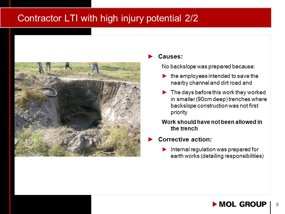 Contractor LTI with high injury potential 2/2 ►Causes: No backslope was prepared because: ►the employees intended to save the nearby channel and dirt