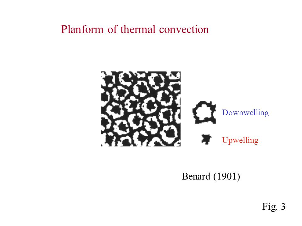 Benard (1901) Downwelling Upwelling Planform of thermal convection Fig. 3