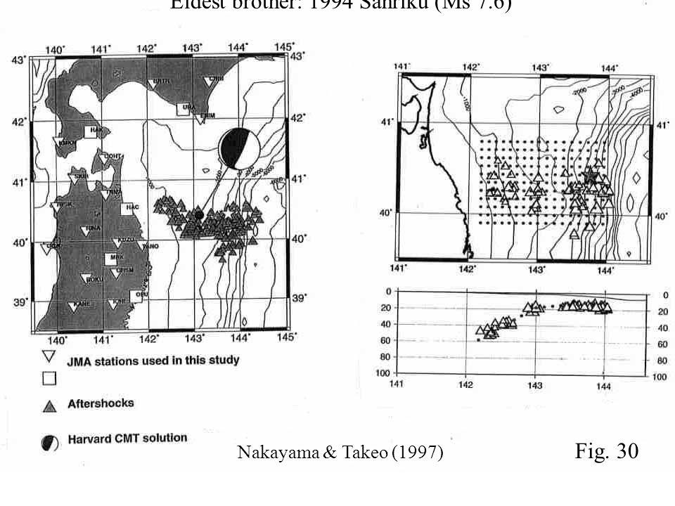 Eldest brother: 1994 Sanriku (Ms 7.6) Nakayama & Takeo (1997) Fig. 30