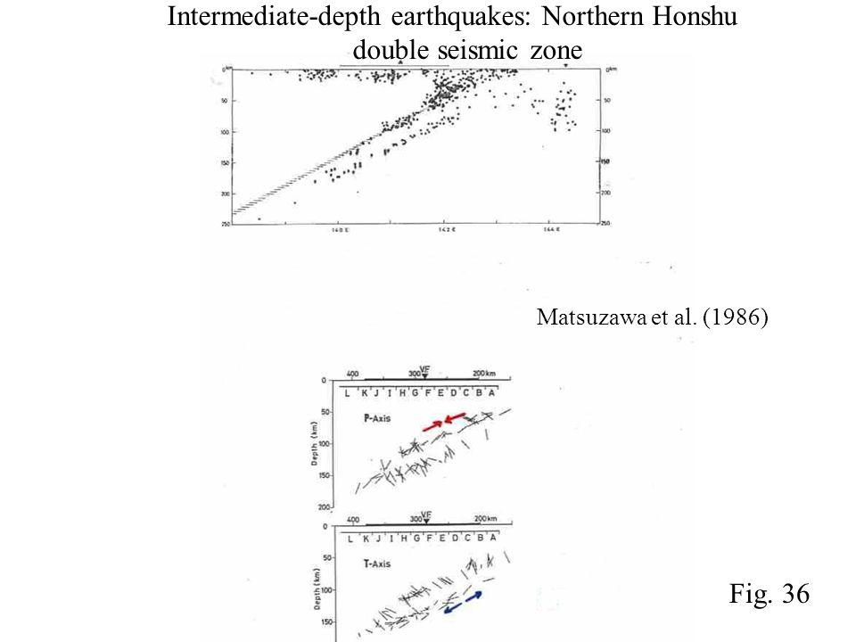 Matsuzawa et al. (1986) Intermediate-depth earthquakes: Northern Honshu double seismic zone Fig. 36