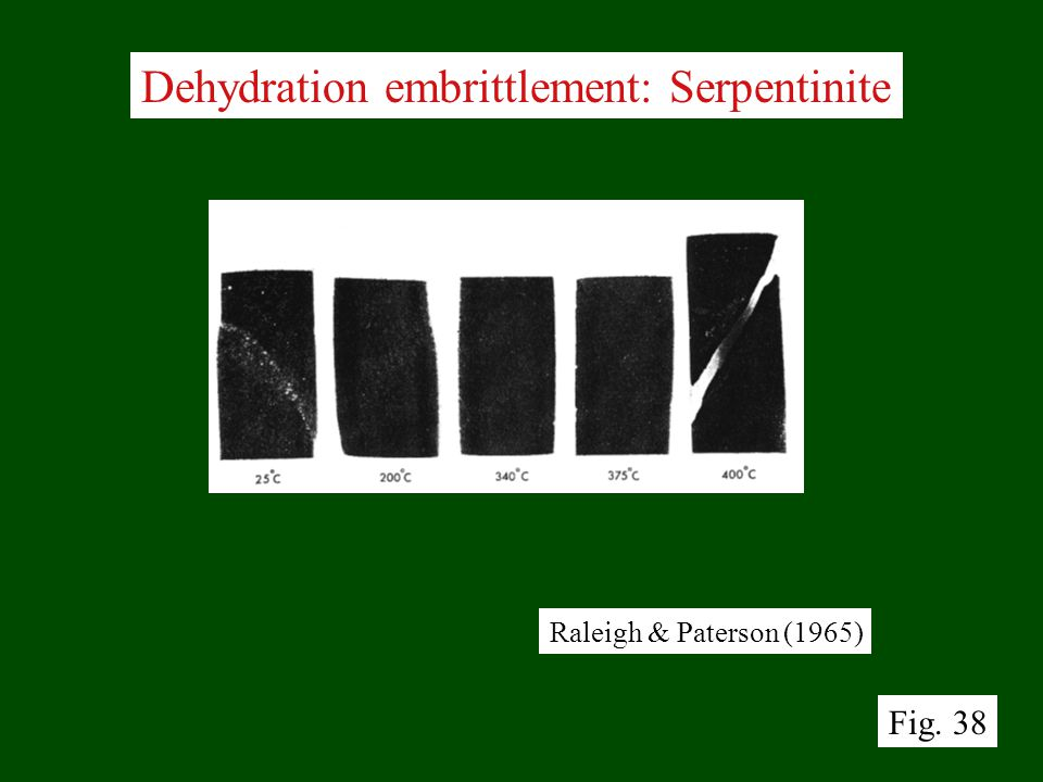 Dehydration embrittlement: Serpentinite Raleigh & Paterson (1965) Fig. 38