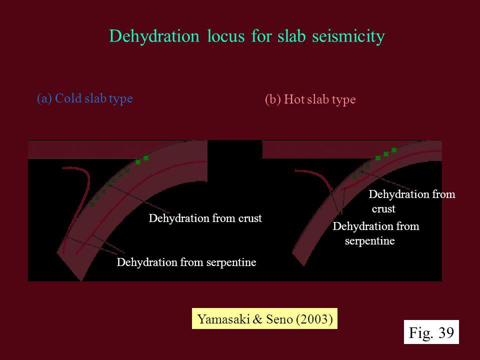 (a) Cold slab type (b) Hot slab type Dehydration from crust Dehydration from crust Dehydration from serpentine Dehydration from serpentine Dehydration locus for slab seismicity Yamasaki & Seno (2003) Fig.