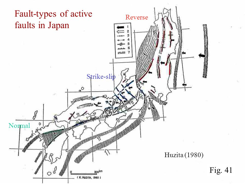 Fault-types of active faults in Japan Huzita (1980) Reverse Strike-slip Normal Fig. 41
