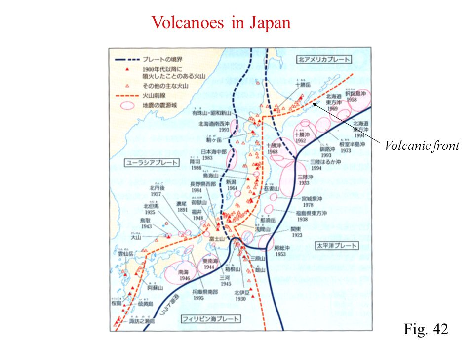 Volcanoes in Japan Volcanic front Fig. 42