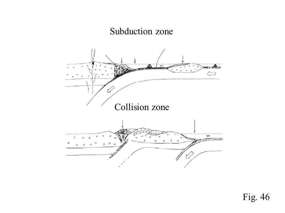 Subduction zone Collision zone Fig. 46