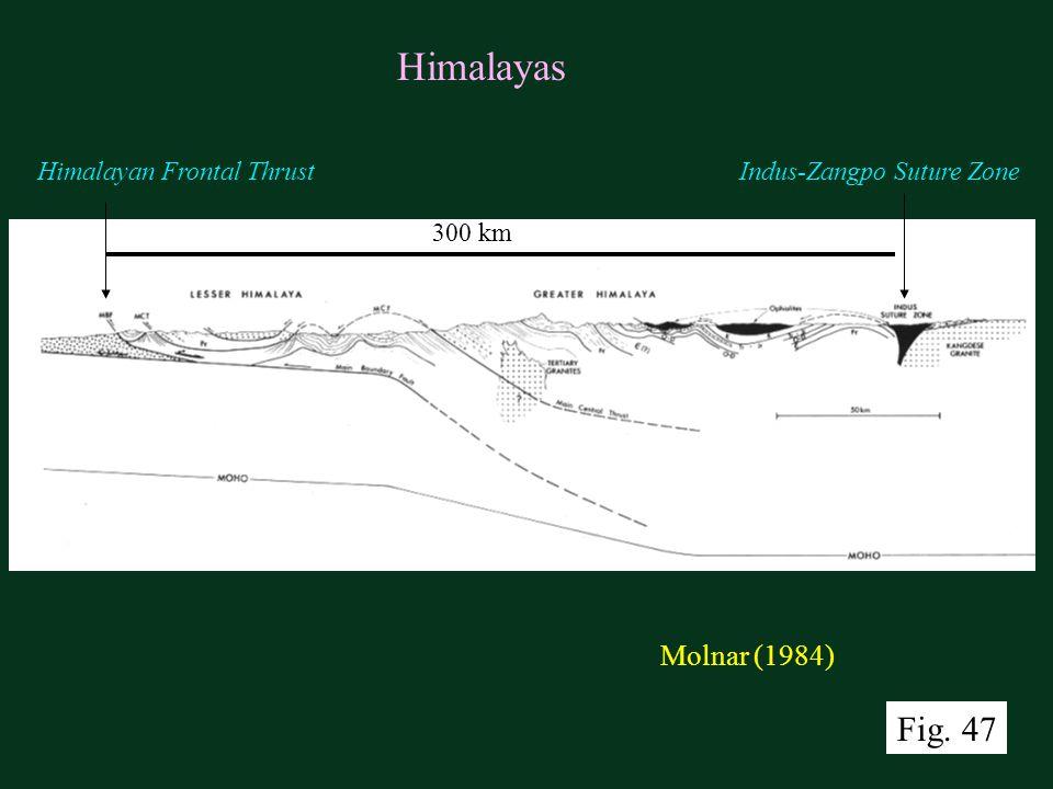 Molnar (1984) Himalayas 300 km Himalayan Frontal ThrustIndus-Zangpo Suture Zone Fig. 47