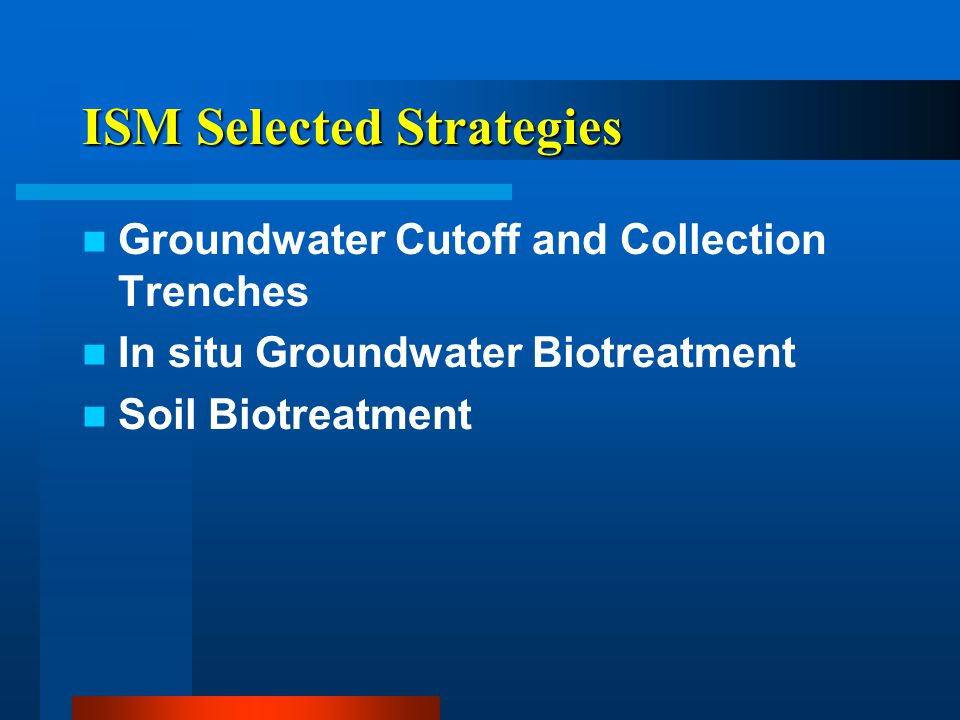 ISM Selected Strategies Groundwater Cutoff and Collection Trenches In situ Groundwater Biotreatment Soil Biotreatment