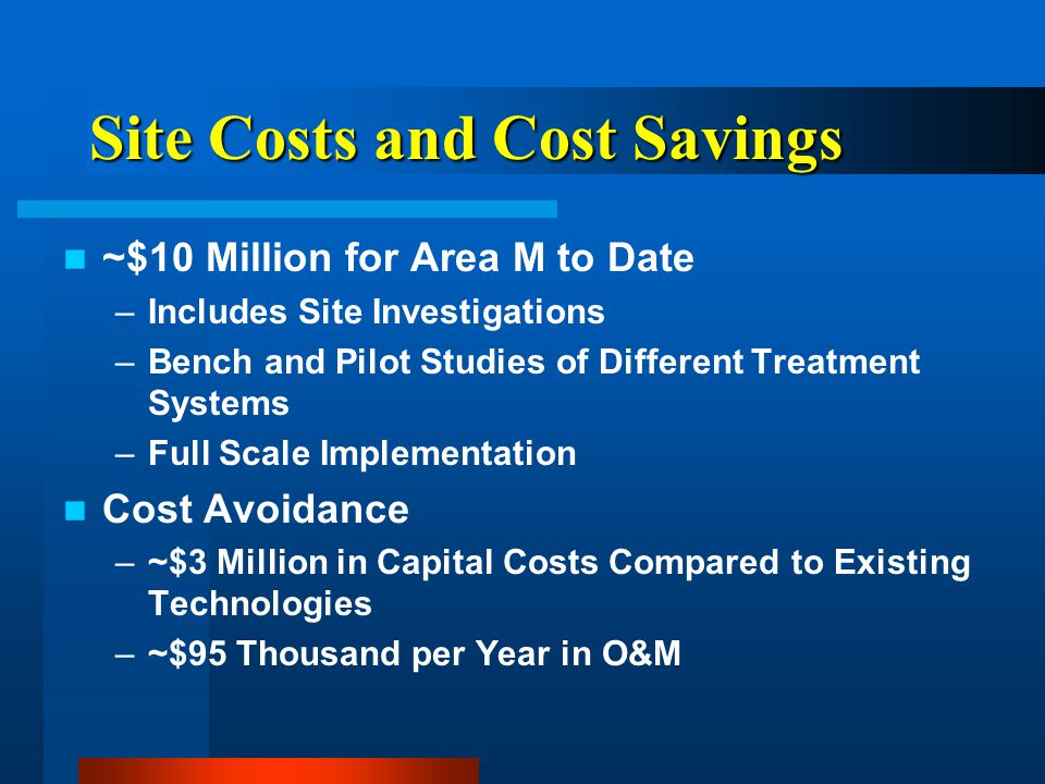 Site Costs and Cost Savings ~$10 Million for Area M to Date –Includes Site Investigations –Bench and Pilot Studies of Different Treatment Systems –Full Scale Implementation Cost Avoidance –~$3 Million in Capital Costs Compared to Existing Technologies –~$95 Thousand per Year in O&M