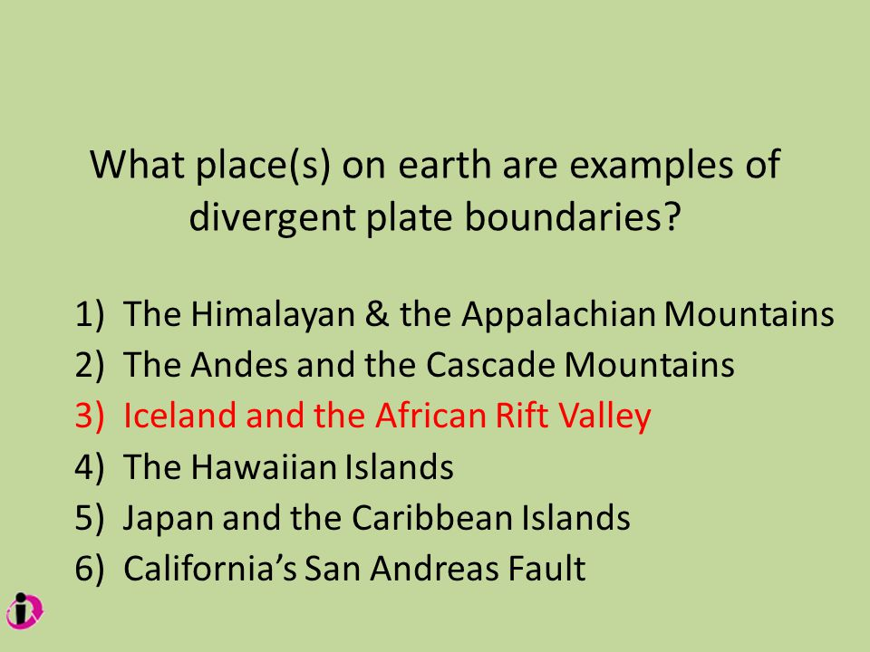 What place(s) on earth are examples of divergent plate boundaries.