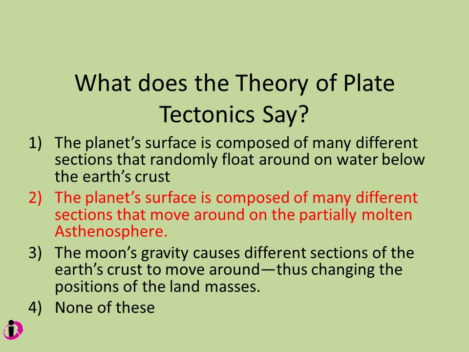 What does the Theory of Plate Tectonics Say.