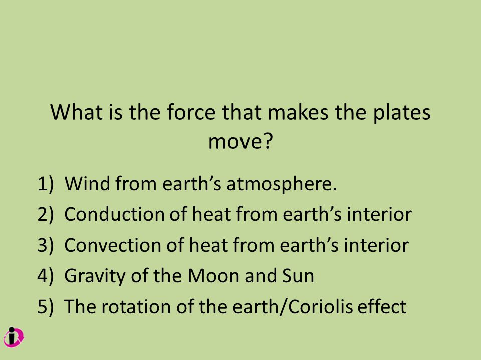 What is the force that makes the plates move. 1)Wind from earth's atmosphere.