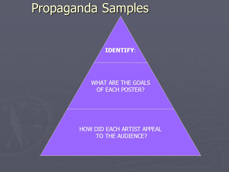 Propaganda Samples IDENTIFY: WHAT ARE THE GOALS OF EACH POSTER.