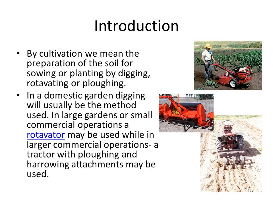 Introduction By cultivation we mean the preparation of the soil for sowing or planting by digging, rotavating or ploughing. In a domestic garden diggi