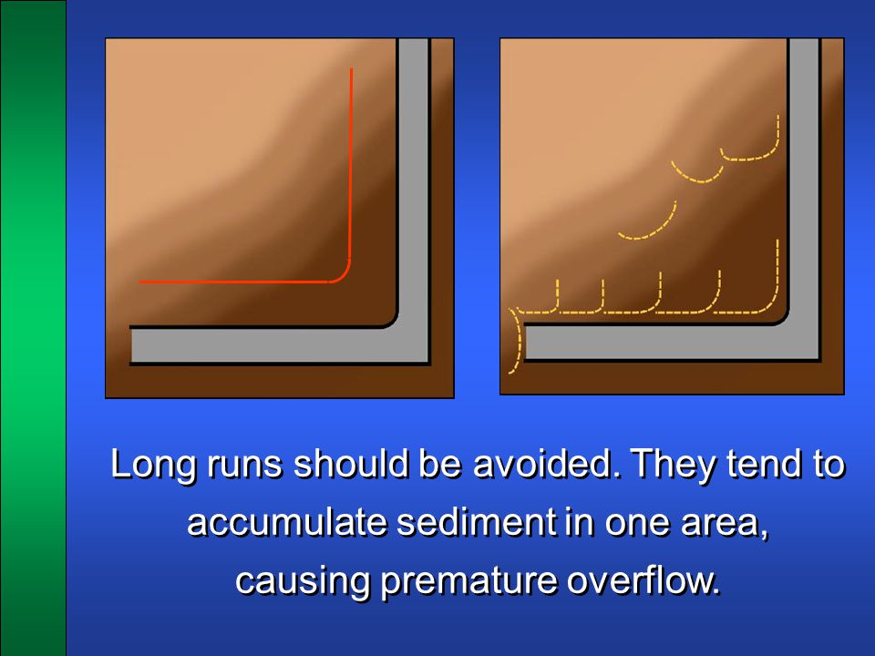 Long runs should be avoided. They tend to accumulate sediment in one area, causing premature overflow. Long runs should be avoided. They tend to accum
