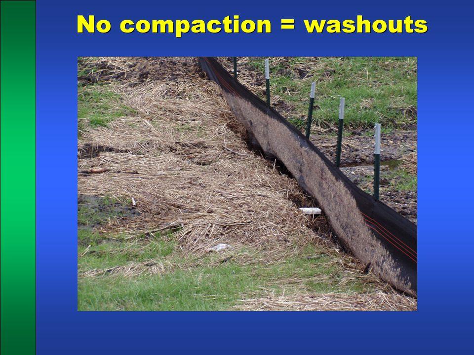 No compaction = washouts