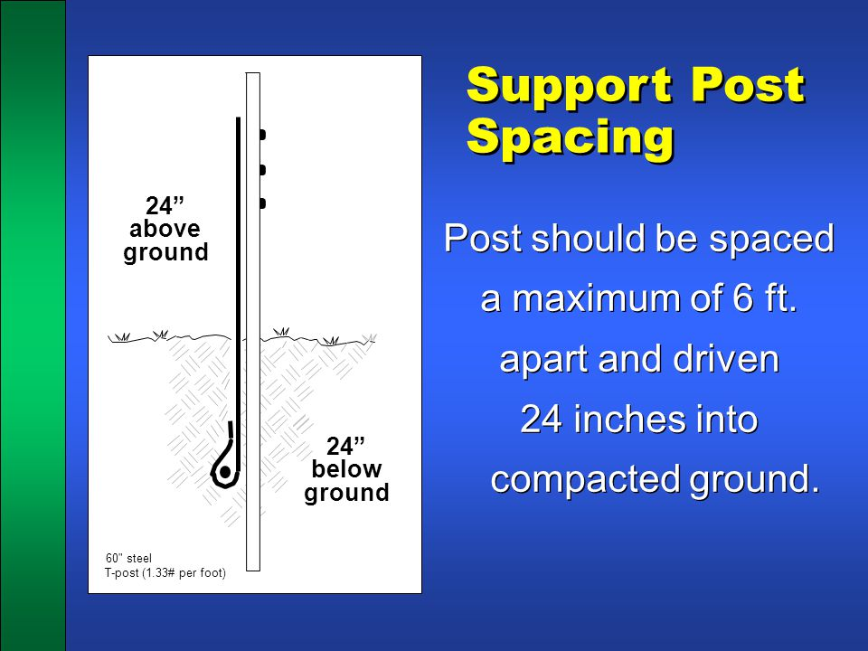 Support Post Spacing Post should be spaced a maximum of 6 ft. apart and driven 24 inches into compacted ground. Post should be spaced a maximum of 6 f