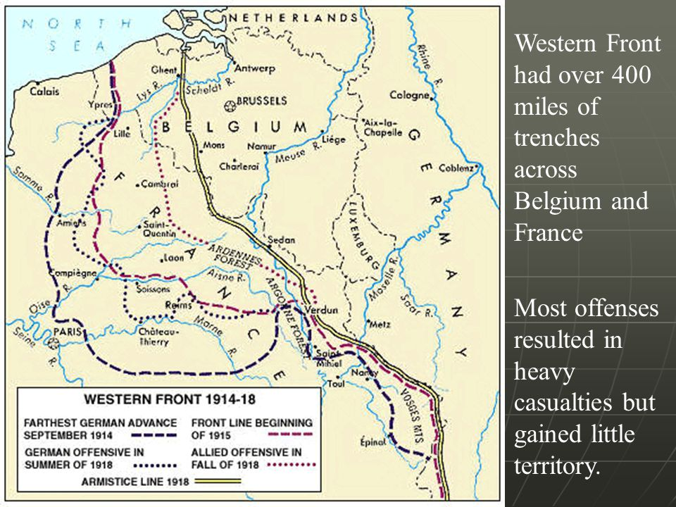 Western Front had over 400 miles of trenches across Belgium and France Most offenses resulted in heavy casualties but gained little territory.