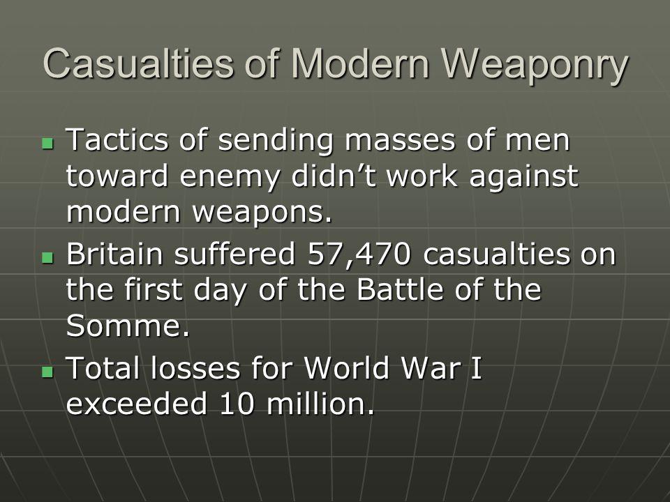 Casualties of Modern Weaponry Tactics of sending masses of men toward enemy didn't work against modern weapons.