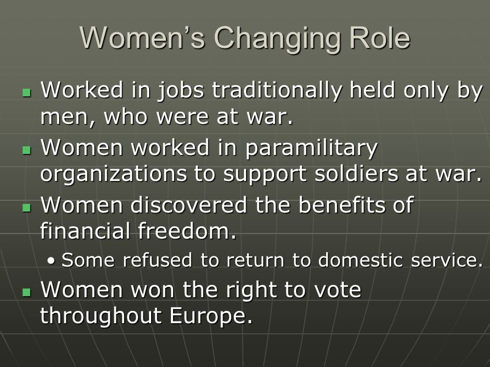 Women's Changing Role Worked in jobs traditionally held only by men, who were at war.