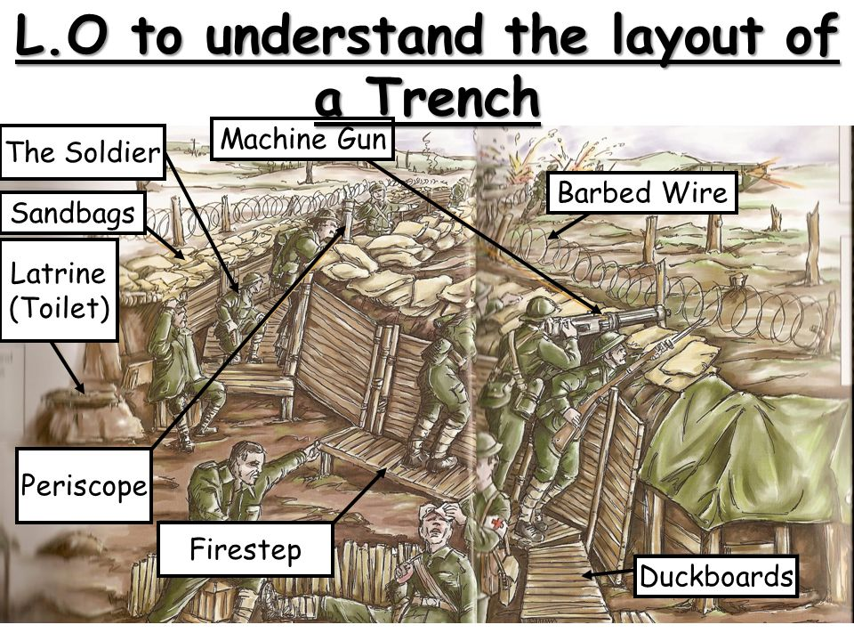 Latrine (Toilet) ‏ Sandbags The Soldier Machine Gun Duckboards Periscope Firestep Barbed Wire L.O to understand the layout of a Trench