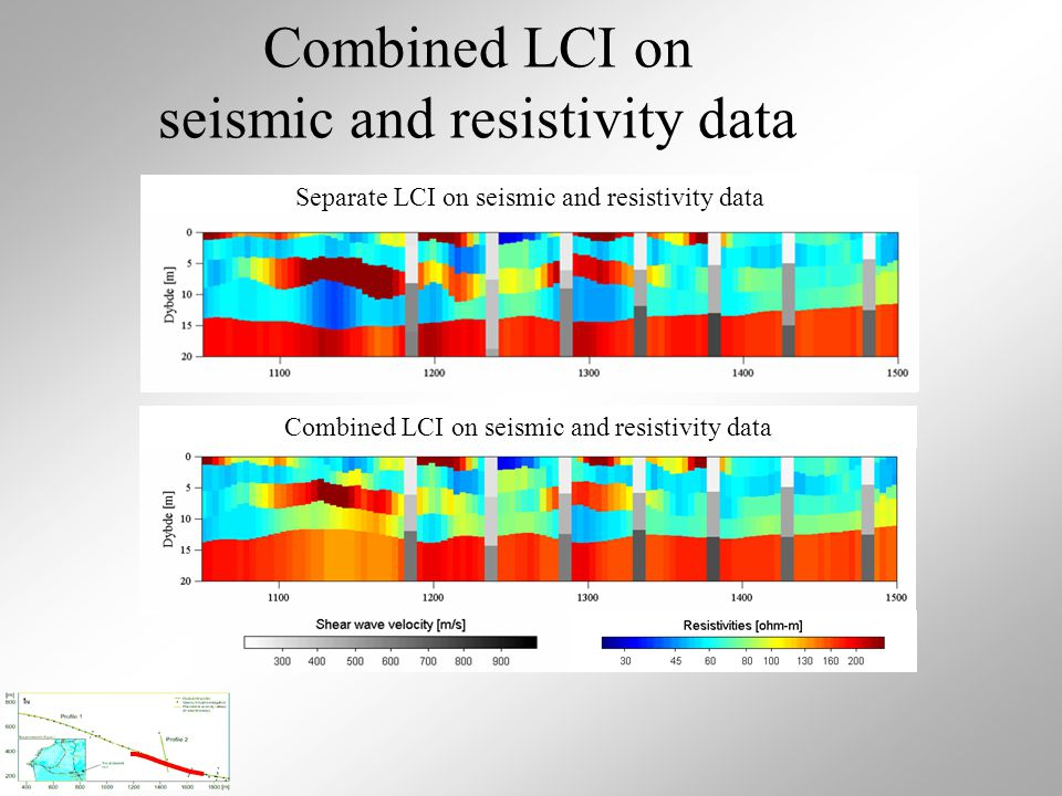 LCI on resistivity data Separate LCI on seismic and resistivity data Combined LCI on seismic and resistivity data