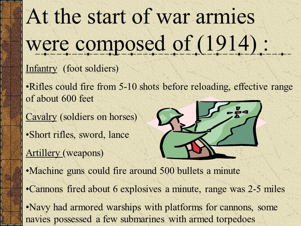 At the start of war armies were composed of (1914) : Infantry (foot soldiers) Rifles could fire from 5-10 shots before reloading, effective range of a