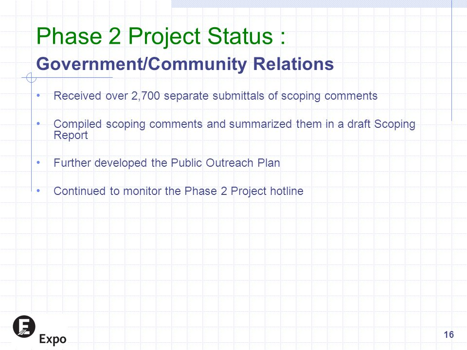 Government/Community Relations Received over 2,700 separate submittals of scoping comments Compiled scoping comments and summarized them in a draft Sc