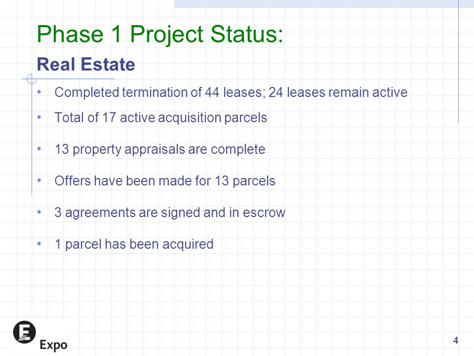 Phase 1 Project Status: Real Estate Completed termination of 44 leases; 24 leases remain active Total of 17 active acquisition parcels 13 property appraisals are complete Offers have been made for 13 parcels 3 agreements are signed and in escrow 1 parcel has been acquired 4