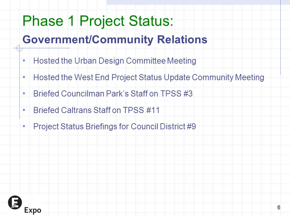 Phase 1 Project Status: Government/Community Relations Hosted the Urban Design Committee Meeting Hosted the West End Project Status Update Community Meeting Briefed Councilman Park's Staff on TPSS #3 Briefed Caltrans Staff on TPSS #11 Project Status Briefings for Council District #9 6
