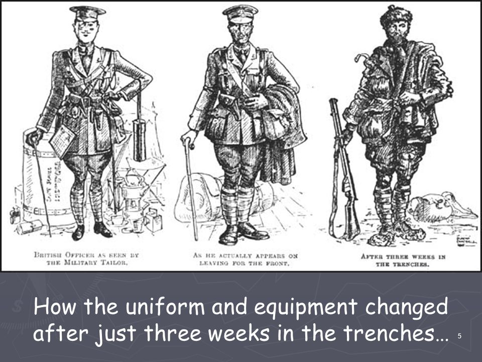 How the uniform and equipment changed after just three weeks in the trenches… 5