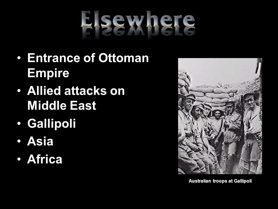 Entrance of Ottoman Empire Allied attacks on Middle East Gallipoli Asia Africa Australian troops at Gallipoli
