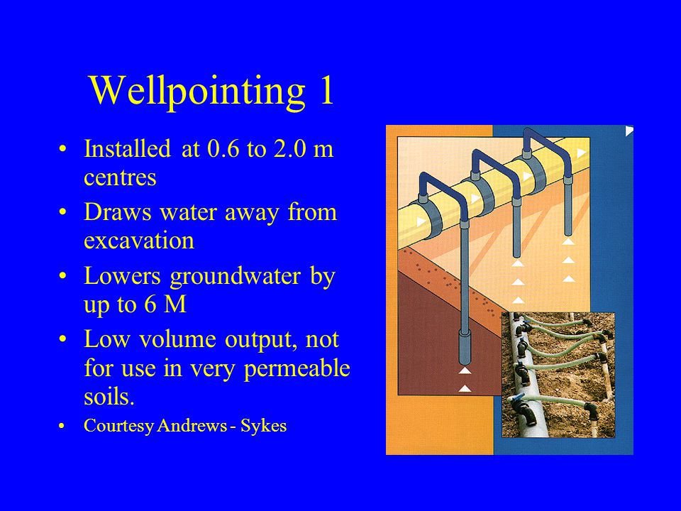 Wellpointing 1 Installed at 0.6 to 2.0 m centres Draws water away from excavation Lowers groundwater by up to 6 M Low volume output, not for use in very permeable soils.