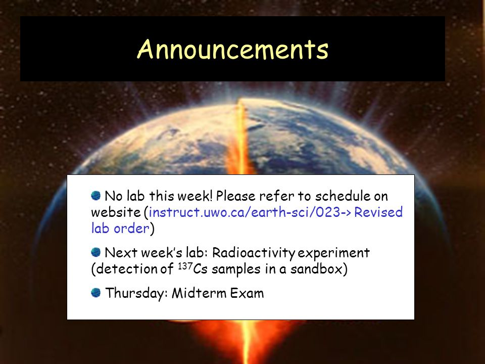 Announcements No lab this week.
