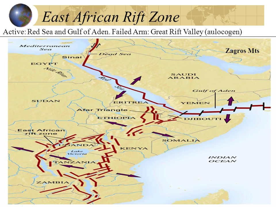 East African Rift Zone Active: Red Sea and Gulf of Aden.