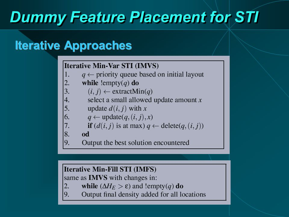 Dummy Feature Placement for STI Iterative Approaches