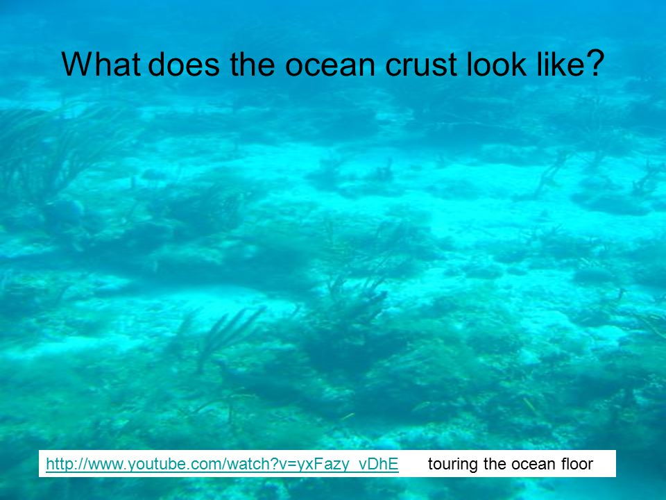 What does the ocean crust look like ? http://www.youtube.com/watch?v=yxFazy_vDhEhttp://www.youtube.com/watch?v=yxFazy_vDhE touring the ocean floor